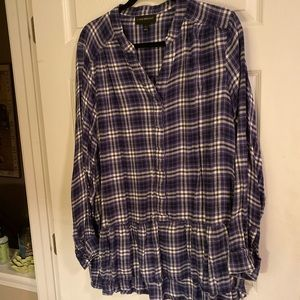 Soft lightweight ruffled bottom flannel tunic